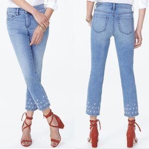 NYDJ Sheri slim ankle  jeans embroidered size 8